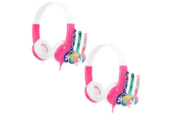 2x Buddyphones Connect Wired Headphones 3.5m w/Stickers/Microphone Kids 3y+ Pink