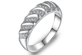 Milgrain Pave Collection Eternity Band Embellished with Swarovski crystals   Size US 8