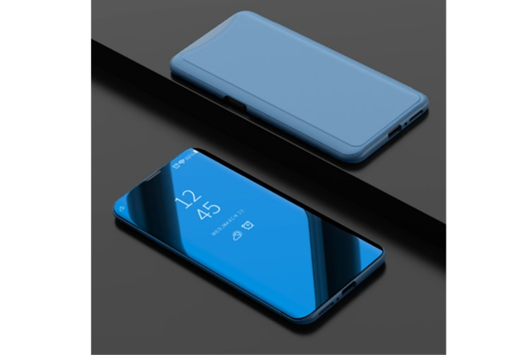 Mirror Cover Electroplate Clear Smart Kickstand For Oppo Series Blue Oppo F7
