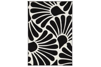 Damask Modern Fern Rug Black White 330x240cm