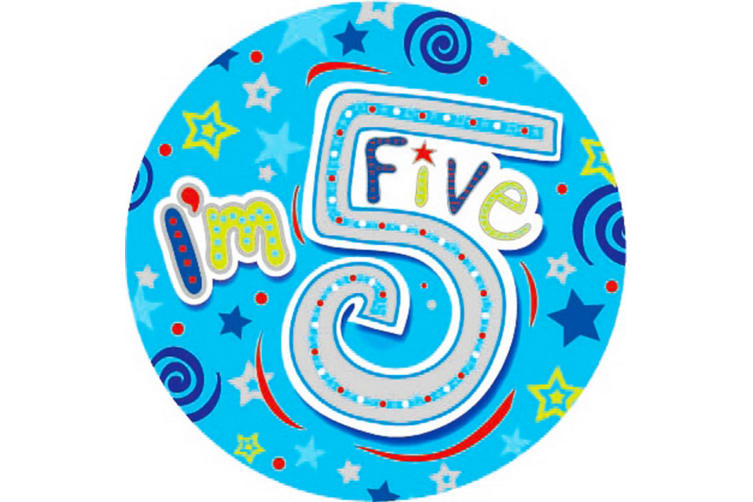 Expression Factory Childrens Boys I Am 5 Today Giant Badge (Blue) (One Size)