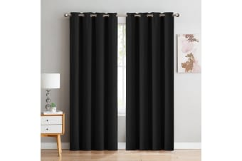 DreamZ Blockout Curtain Blackout Curtains Eyelet Room 102x241cm Black
