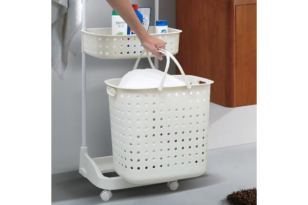 Bathroom Laundry Clothes Baskets Bin removable Shelf - WHITE