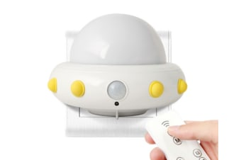 Select Mall LED Creative Flying Saucer Remote Night Light Bedroom Bedside Children Starting Night Induction Lamp-White
