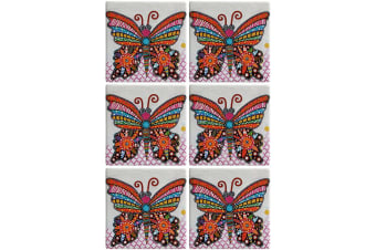 6pc Maxwell & Williams Smile Style Ceramic Tile Coaster Flutter 9cm Placemat