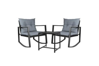 Gardeon Outdoor Rocking Chair and Table Set (Black)