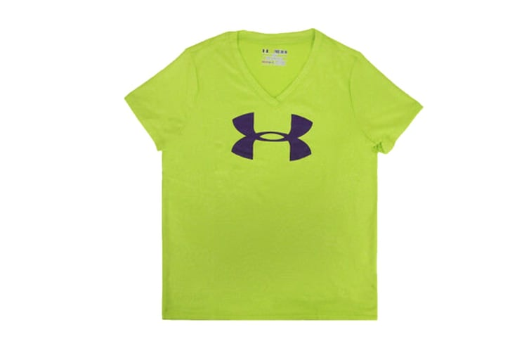 Under Armour Girls' Tech Big Logo V-Neck (Lime Green/Purple, Size M)