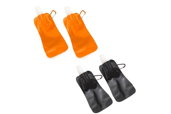 4x Doozie 450ml Collapsible Camping Water Drink Bottle Gym Sport Orange Black