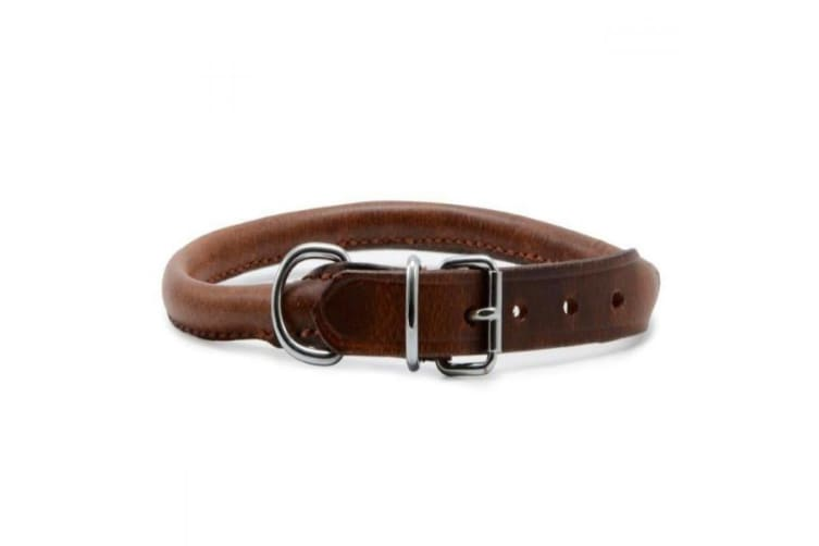 Ancol Round Leather Dog Collar (Chestnut) (14in)