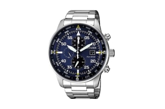 Citizen Men's Analog Eco-Drive Watch with Multi Dial, Chronograph, Date, 12/24 hr Time - Stainless Steel/Blue (CA0690-88L)