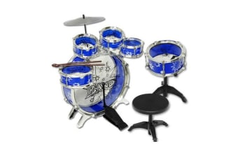 Jazz Drum Play Set 9Pcs for Kids Musical Instrument, Blue