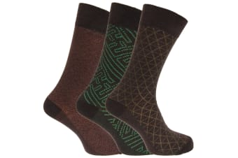 Angelo Cavalli Mens Abstract Patterned Elastic Top Socks (3 Pairs) (Green Triangle) (UK 6-11)
