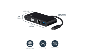 StarTech.com USB-C VGA Multiport Adapter - Power Delivery (60W) - USB 3.0 - GbE