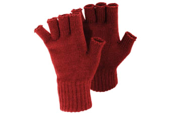 FLOSO Ladies/Womens Winter Fingerless Gloves (Red) (One Size)