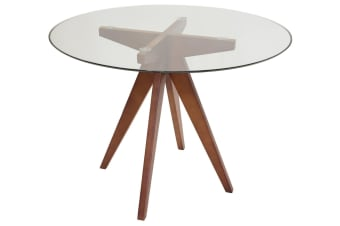 Replica Jean Prouve Inspired Dining Table | Walnut Wood Legs | Glass | 100cm