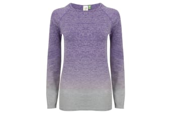 Tombo WomensLadies Seamless Fade Out Long Sleeve Top (Purple/Light Grey Marl)