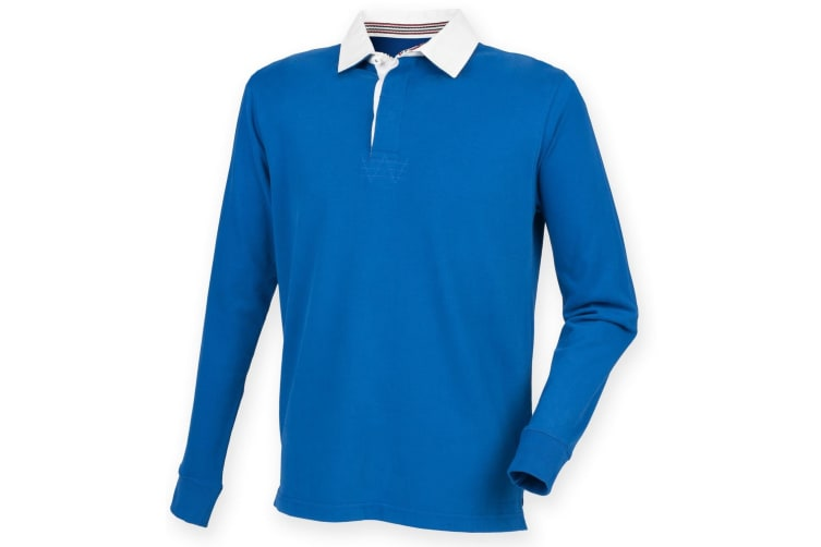 Front Row Mens Premium Long Sleeve Rugby Shirt/Top (Royal) (L)