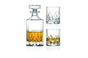 RCR Opera Whisky Decanter 750ml with Set of 2 Glass Tumbler 300ml
