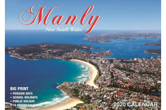 Manly Australia - 2020 Rectangle Wall Calendar 16 Months by Bartel
