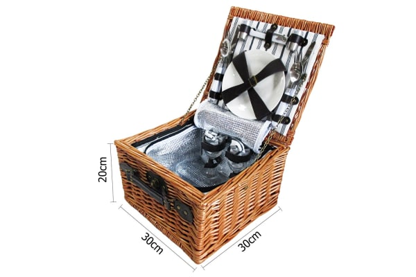 2 Person Picnic Basket Set with Cooler Bag Blanket (Black)