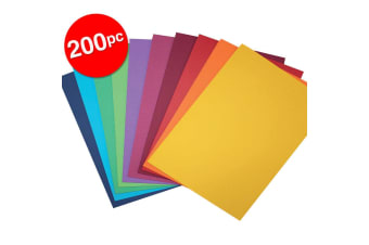 2x 100pc ColourfulDays A4 Colour Board 200gsm Paper Craft School Sheets Assorted