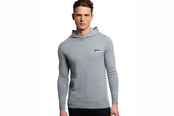 Superdry Men's Orange Label Knit Hoodie (Grey Marl, Medium)