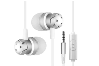 Super Bass Earphones Volume Control With Microphone Headsets White