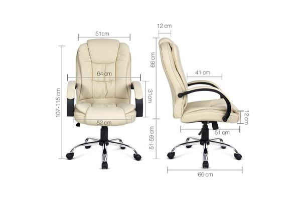 Executive PU Leather Office Computer Chair (Beige)