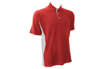 Finden & Hales Mens Sports Polo T-Shirt (Red/White)