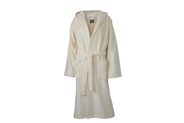 Myrtle Beach Adults Unisex Functional Hooded Bath Robe (Cream) (S)