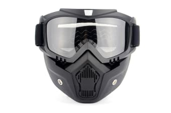Select Mall Motorcycle Helmet Riding Goggles Glasses With Removable Face Mask Detachable Fog-proof Warm Goggles-Clear
