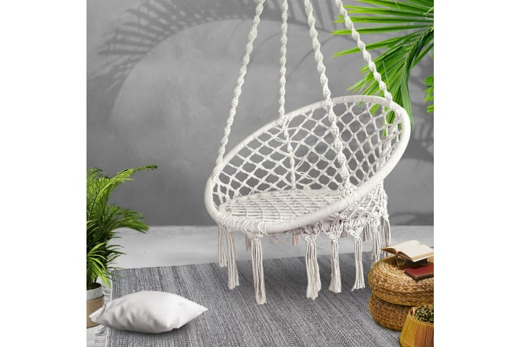 Outdoor Swing Hammock Chair Indoor Rope Portable Camping Cream