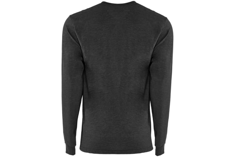 Next Level Adults Unisex Suede Feel Long Sleeve Crew T-Shirt (Heather Charcoal) (XXL)