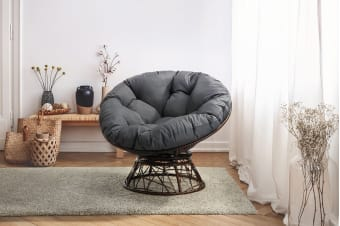 Shangri-La Swivel Wicker Chair (Grey)