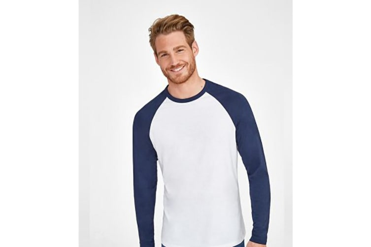 SOLS Mens Funky Contrast Long Sleeve T-Shirt (White/French Navy) (L)