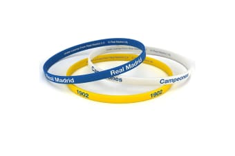 Real Madrid FC Official Silicone Wristbands (Pack Of 3) (Multicoloured)