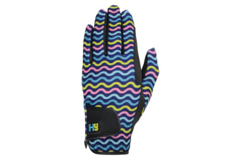 Hy5 Unisex Lightweight Printed Riding Gloves (Black/Yellow/Teal/Pink)
