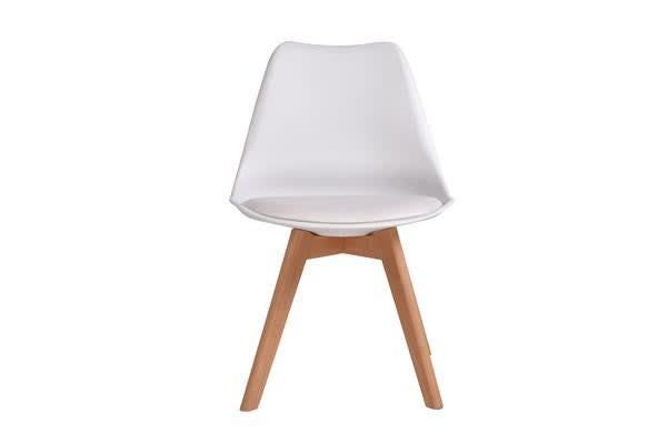 4 x Retro Replica Eames PU Leather Padded Seat Chair WHITE