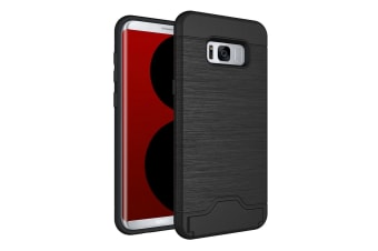For Samsung Galaxy S8 Case  Brushed Card Slot Armour Durable Cover Black