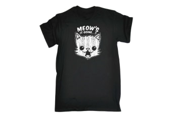 123T Funny Tee - Meows It Going - (3X-Large Black Mens T Shirt)