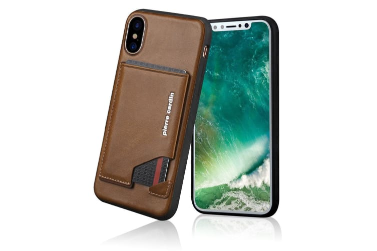 Pierre Cardin Gen. Leather Wallet Case w/Card Holder/Stand for iPhone X/XS Brown