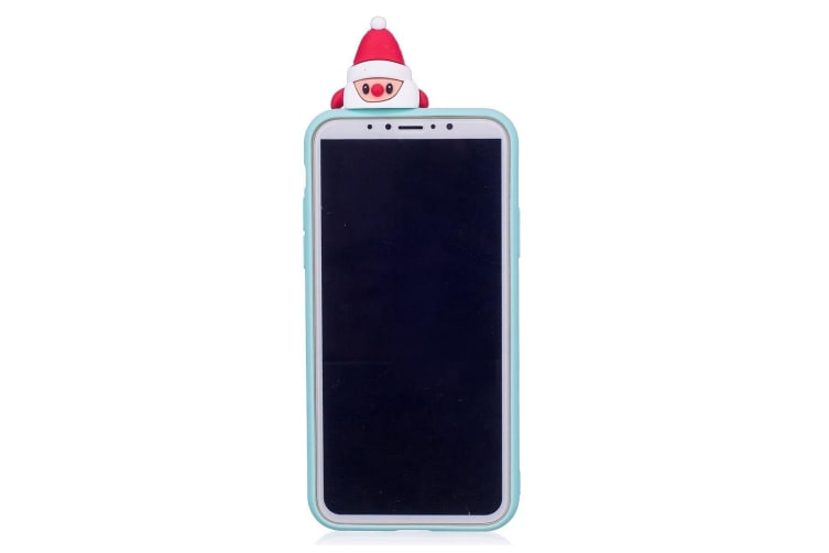 For iPhone XR Case Baby Blue 3D Santa Claus Pattern Protective Back Cover