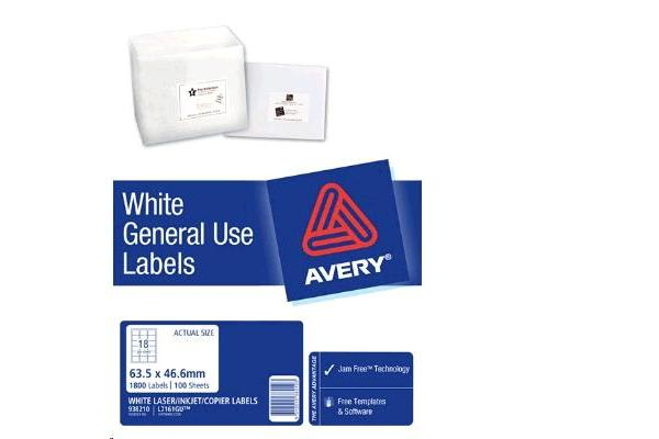 AVERY L7161 General Use Labels A4 18 Labels/Sheet - 100 Sheets