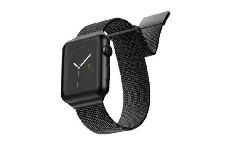 2pc X-Doria Stainless Steel Mesh Band Strap For 44mm-42mm Apple iWatch BLK & SLV