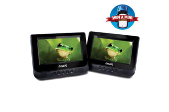 """LASER DVD Player Dual In Car 7"""" with Bonus Pack (headrest mounts and earphones)"""