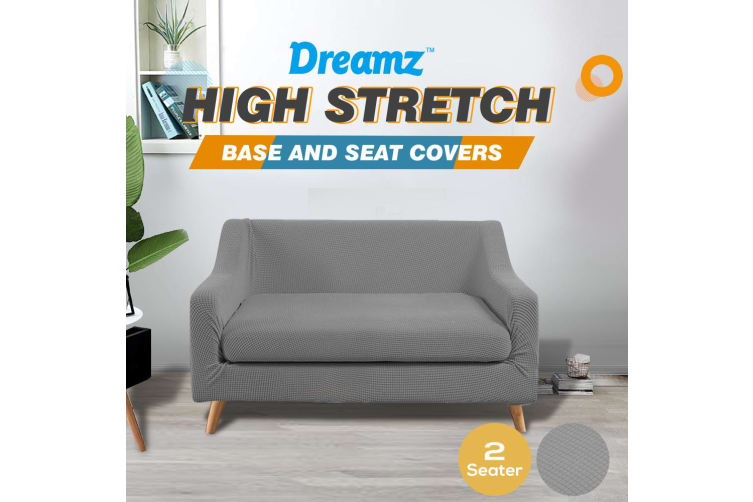 Dreamz Couch Sofa Base & Seat Cover Stretch Protector Slipcover 2 Seater Grey AU