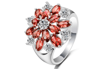 925 Sterling Silver Cubic Zirconia Snowflake Ring  10