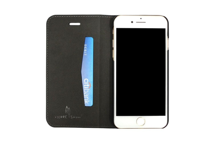 For iPhone 8 7 Wallet Case FierreShann Crocodile Genuine Cow Leather Cover Black