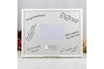 Personalised Christening Signature Frame Black / White 4x6 Photo