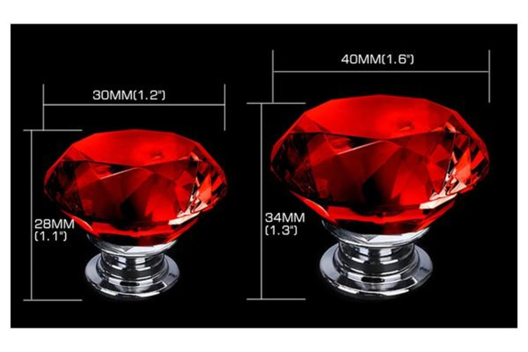 10 PACK Red Diamond Clear Crystal Glass Door Pull Drawer Knob 40mm